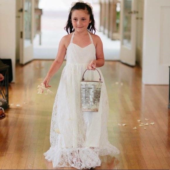 Dresses Ivory Off White Lace Flower Girl Dress Size 78 Poshmark